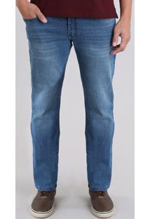 Calça Jeans Masculina Reta Azul Médio