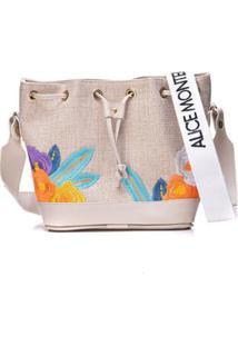 Bolsa Alice Monteiro Saco Palha Floral - Feminino-Off White
