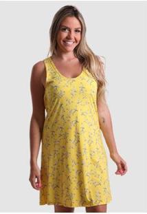 Vestido Praaiah Decote Gota Costas Feminino - Feminino-Amarelo