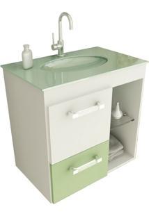 Gabinete Linea 12 60 Cm 1 Porta 1 Gaveta Branco & Verde