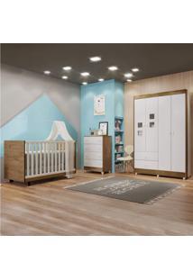 Quarto Infantil Com Cômoda Guarda Roupa E Berço Tigus Baby Branco/Naturale