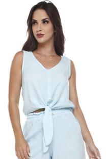 Blusa Com Amarração Na Frente Azul Claro