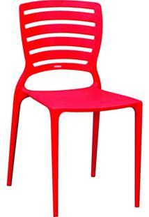 Cadeira Com Encosto Vazado Sofia Vermelha