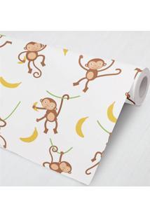 Papel De Parede Macaco Bananinha 3M Grão De Gente Marrom