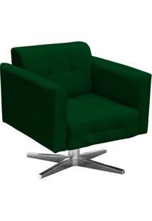 Poltrona Decorativa Elisa Suede Verde Com Base Giratória Em Aço Cromado - D'Rossi