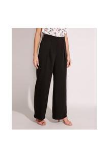 Calça Wide Pantalona Alfaiataria Cintura Alta Com Bolsos Preta