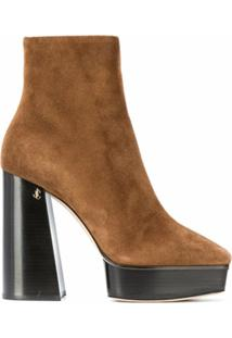 Jimmy Choo Ankle Boot Bryn Com Salto 125Mm - Marrom