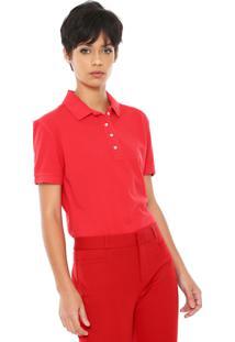 Camisa Polo Carmim Reta Logo Vermelha