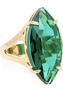 Anel Banho De Ouro Cristal Navete - Feminino-Verde