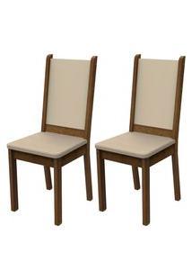Kit 2 Cadeiras 4281 Madesa Rustic/Crema/Pérola Marrom