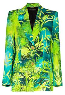 Versace Palm-Print Blazer - Verde