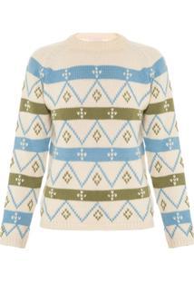 Allmost Vintage Blusa 'Green' De Tricô - Off White