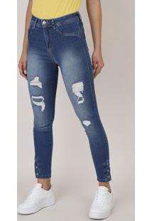 Calça Jeans Feminina Sawary Skinny Pull Up Com Rasgos E Botões Azul Claro