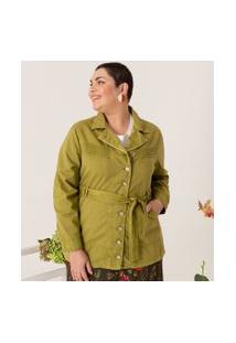 Jaqueta Lisa Com Bolsos E Cinto Curve & Plus Size | Ashua Curve E Plus Size | Verde | Eg