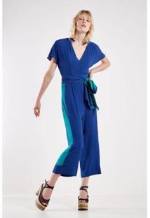 Macacão Sacada Pantacourt Bicolor Feminino - Feminino-Azul