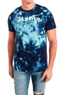 Camiseta Hollister Gráfica Masculina - Masculino-Azul