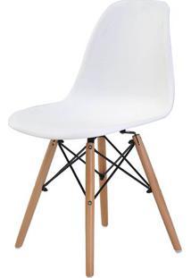 Cadeira Eames Eiffel Polipropileno Branca Base Madeira - 44158 - Sun House