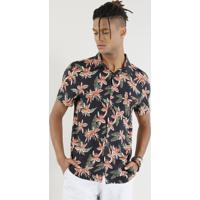 7b930a987 Camisa Masculina Estampada Floral Manga Curta Preta