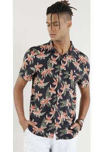 Camisa Masculina Estampada Floral Manga Curta Preta