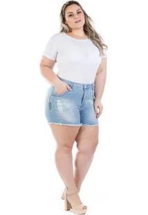 Shorts Jeans Feminino Squash Com Bordado Plus Size - Feminino-Azul