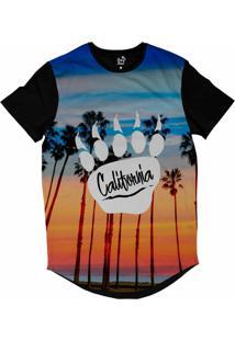 Camiseta Longline Long Beach Pegada De Urso Por Do Sol Sublimada Azul