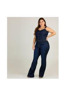 Macacão Plus Size Feminino Jeans Flare