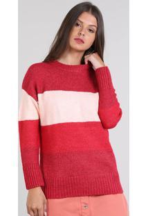 Suéter Feminino Amplo Em Tricô Listrado Vermelho