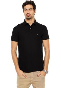 Camisa Polo Tommy Hilfiger Logo Preta
