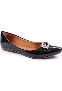 Sapatilha Verniz Thamy Shoes Bico Fino Feminina - Feminino-Preto