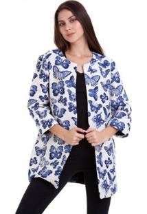 Casaco Borboletas Blue - Feminino-Azul+Branco