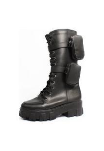Bota Coturno Damannu Shoes Oprah Cano Alto Com Pochete Napa Preto