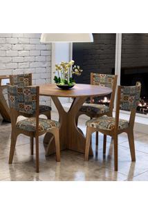 Conjunto Sala De Jantar Mesa E 4 Cadeiras Tm11 Nobre/Ladrilho - Dalla Costa