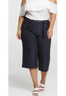 Calça Feminina Pantacourt Estampa Bolinhas Plus Size