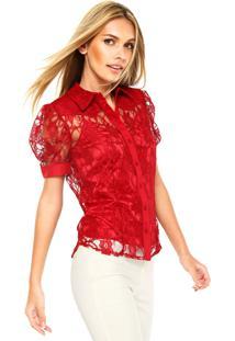 Camisa Manga Curta Carmim Romantic Lace Vermelha