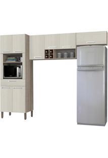 Cozinha Compacta Ametista 8 Portas Composição 2 Nogal/Arena - Kit'S Pa