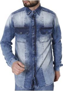 Camisa Jeans Vizzy Manga Longa Azul