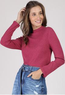 Suéter Feminino Canelado Em Tricô Decote Redondo Vinho