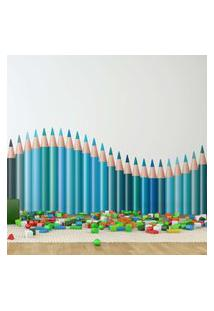 Adesivo De Parede Quartinhos Infantil Lapis De Cor Onda Tons De Azul