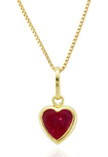 Pingente Ouro 18K Coração Vermelho 5Mm
