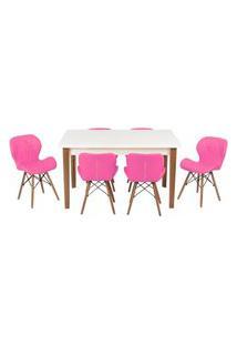 Conjunto Mesa De Jantar Luiza 135Cm Branca Com 6 Cadeiras Slim - Rosa