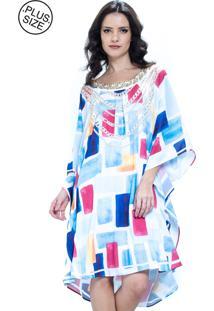 Vestido 101 Resort Wear Kaftan Decote Bordado Plus Size Geométrico Azul