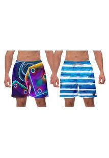 Kit 2 Shorts Moda Praia Listras Azuis Fusion Estampado Ajustável Masculino Poliéster Elastano Banho Surf W2