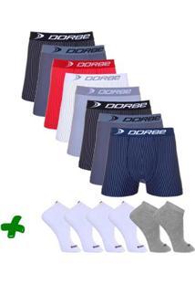 Kit 8 Boxer Microfibra Risca De Giz + 6 Pares Meia Sport - Masculino