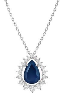 Pingente Em Ouro Branco 18K Com Diamante E Safira Azul