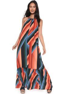 Vestido Dress To Longo Latifa Azul-Marinho/Coral
