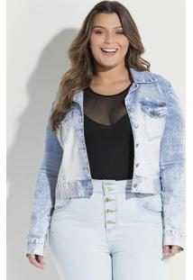 Jaqueta Jeans Claro Quintess Plus Size