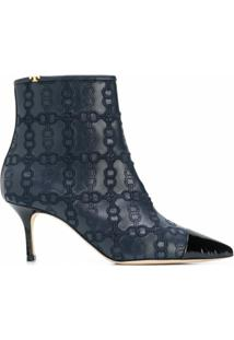 Tory Burch Ankle Boot Penelope Com Salto 65Mm - Azul
