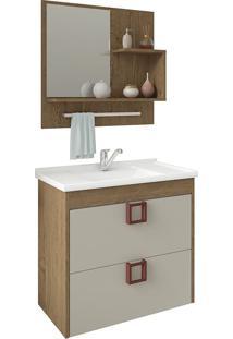 Conjunto Para Banheiro Com 1 Porta Lirio-Mgm - Carvalho / Off White