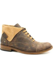 Bota Zariff Shoes Coturno Em Couro Masculina - Masculino-Marrom