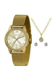 Kit Relógio Feminino Lince Lrgj118L Ky77C2Kx Analógico 50M + Brinde | Lince | Dourado | U